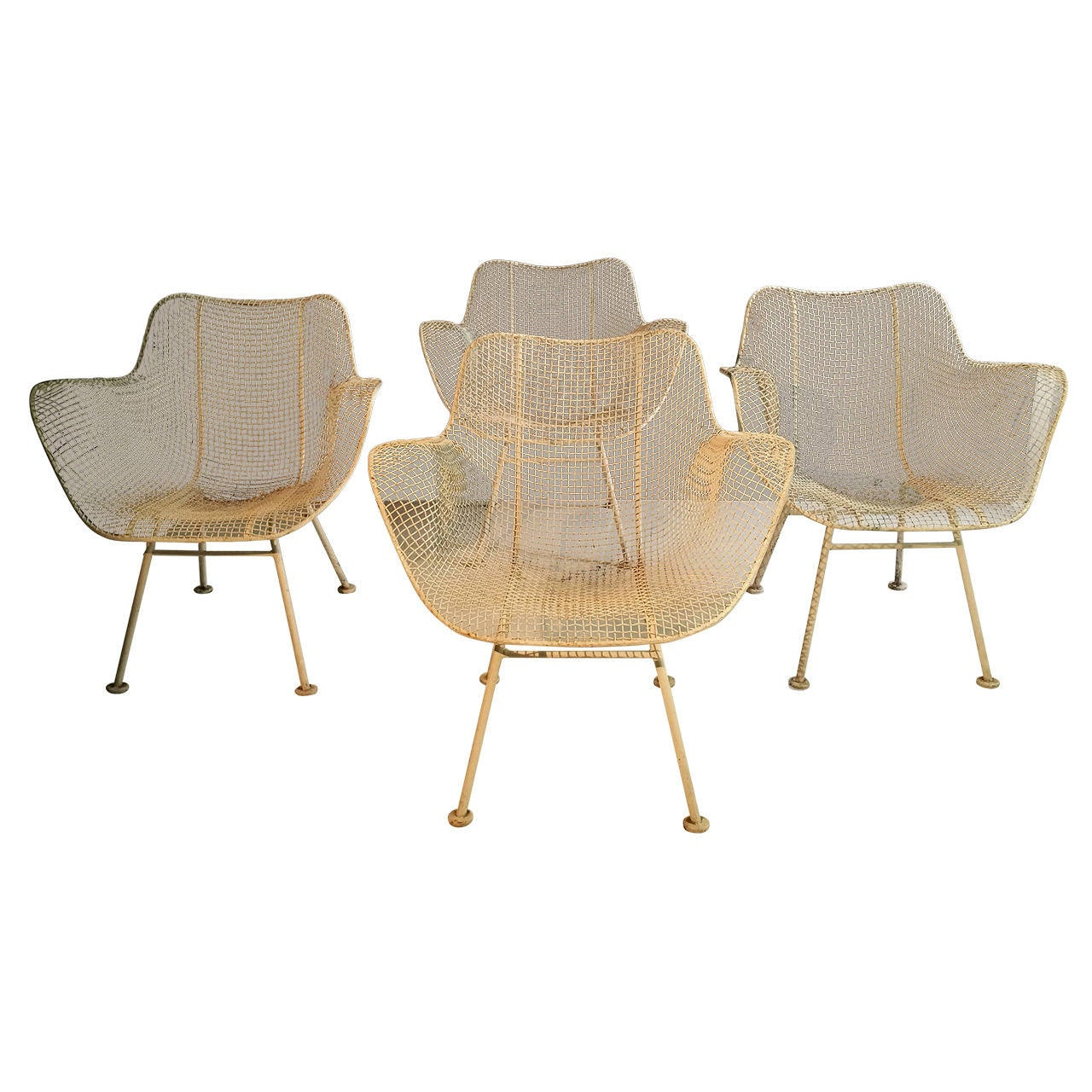 Set of Four Classic Woodard Sculptura Wire Mesh Patio Lounge Chairs at 1stdibs