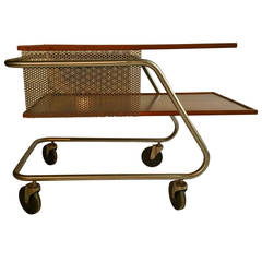 Mid-Century Modern Aluminum and Wood, Industrial Trolly, Bar Cart