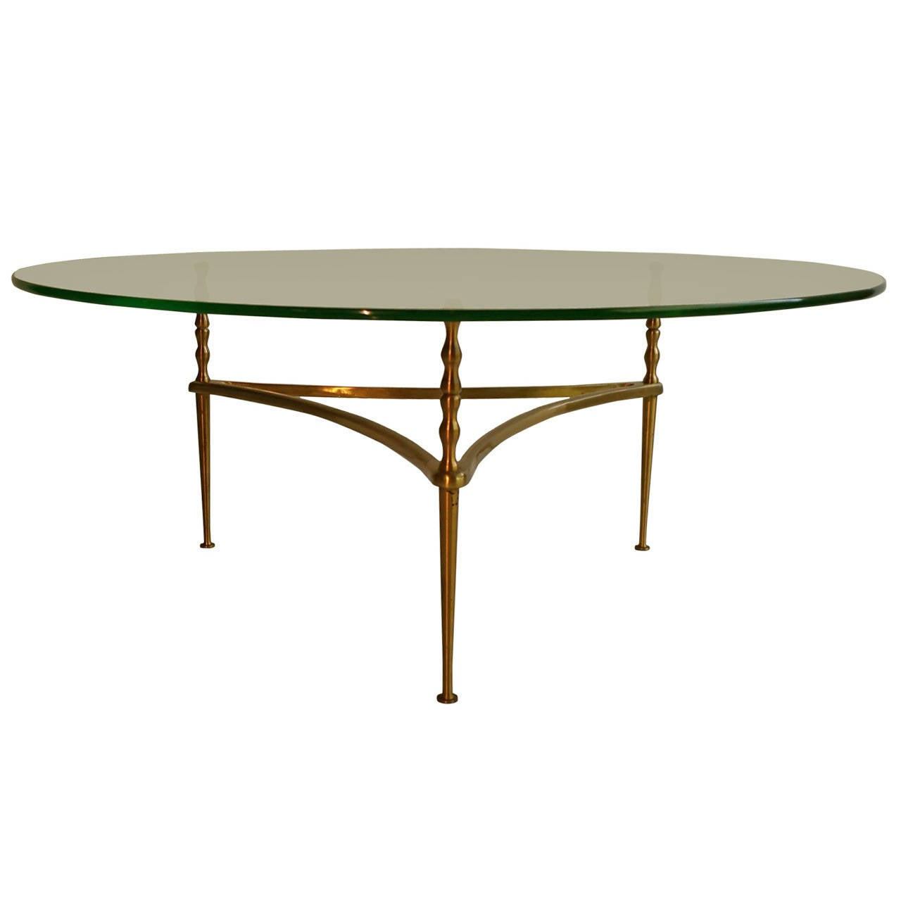 Modernist Italian Glass And Brass Coffee Table Manner Of Gio Ponti At 1stdibs