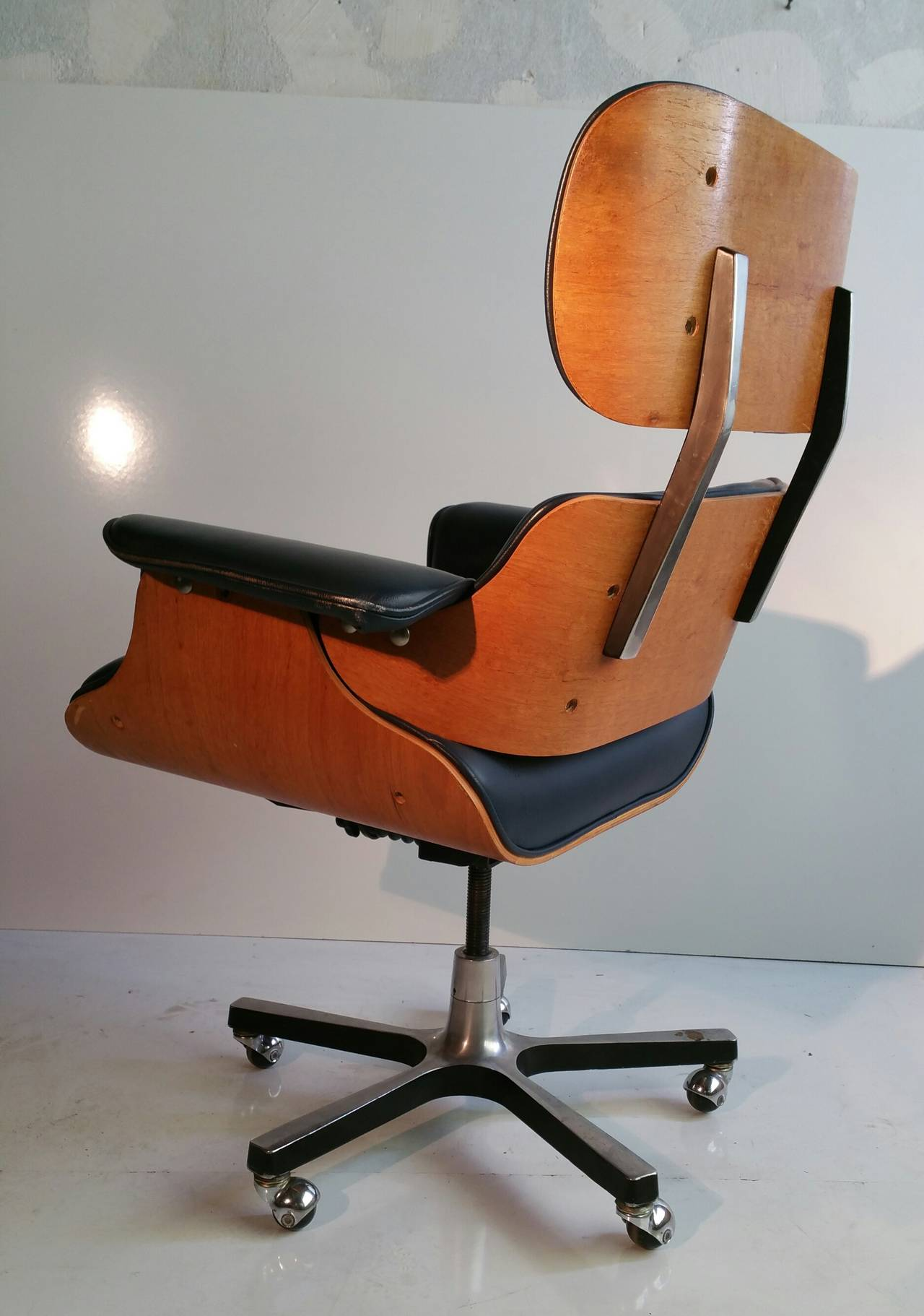 Eames Style Office Chair Dining Room Contemporary With: Modernist Eames Style Leather Desk Chair At 1stdibs