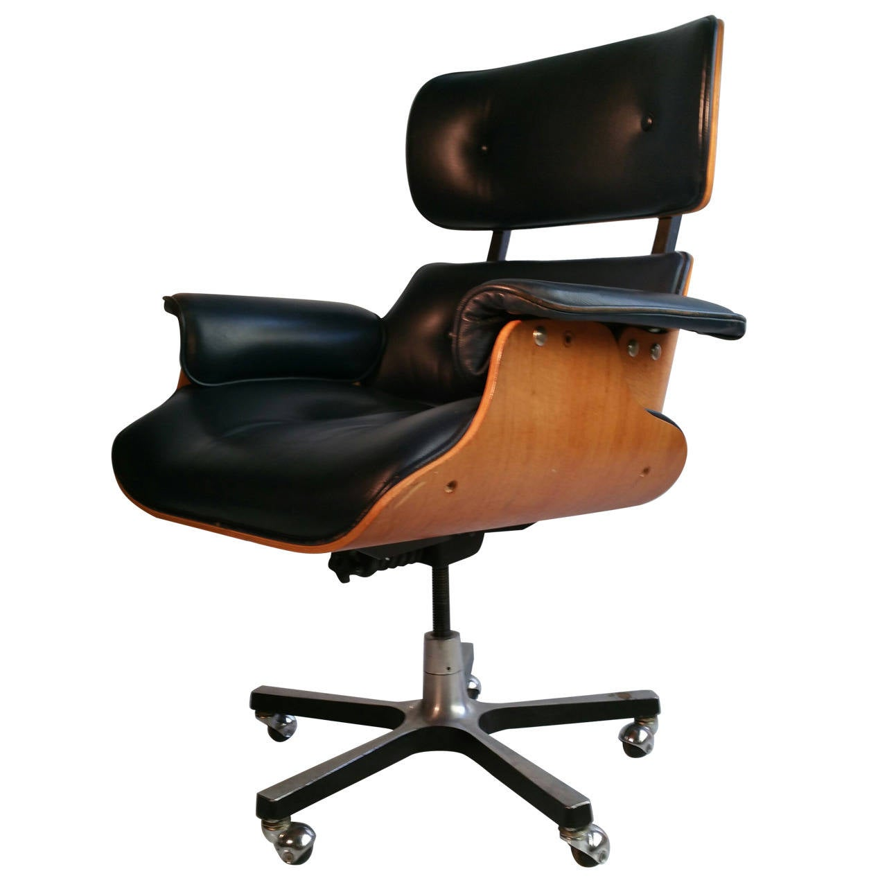 modernist eames style leather desk chair at 1stdibs. Black Bedroom Furniture Sets. Home Design Ideas