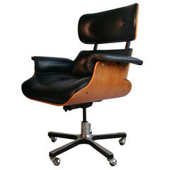 Modernist Eames Style Leather Desk Chair