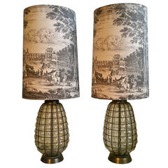 Pair of Blown Glass and Wire Lamps with Original Decorated Toile Fabric Shades