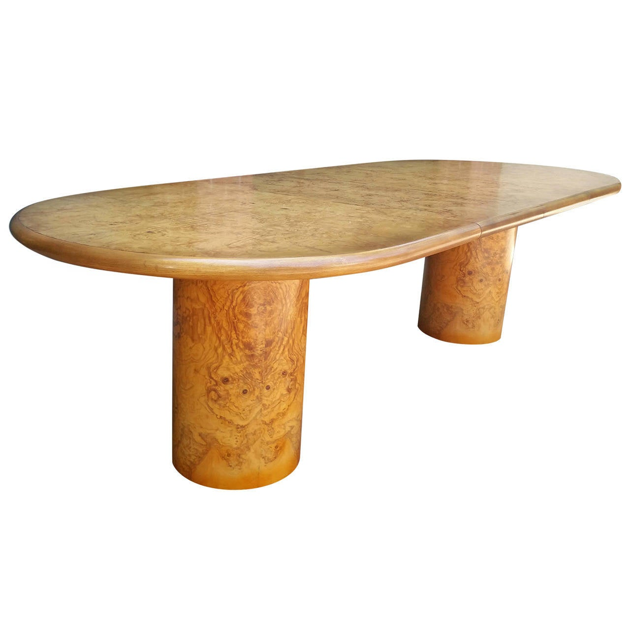 Modernist Burl Olivewood Dining Table by Henredon For Sale