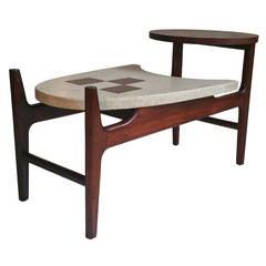Rare Harvey Probber Two-Tier Terrazzo and Walnut Table