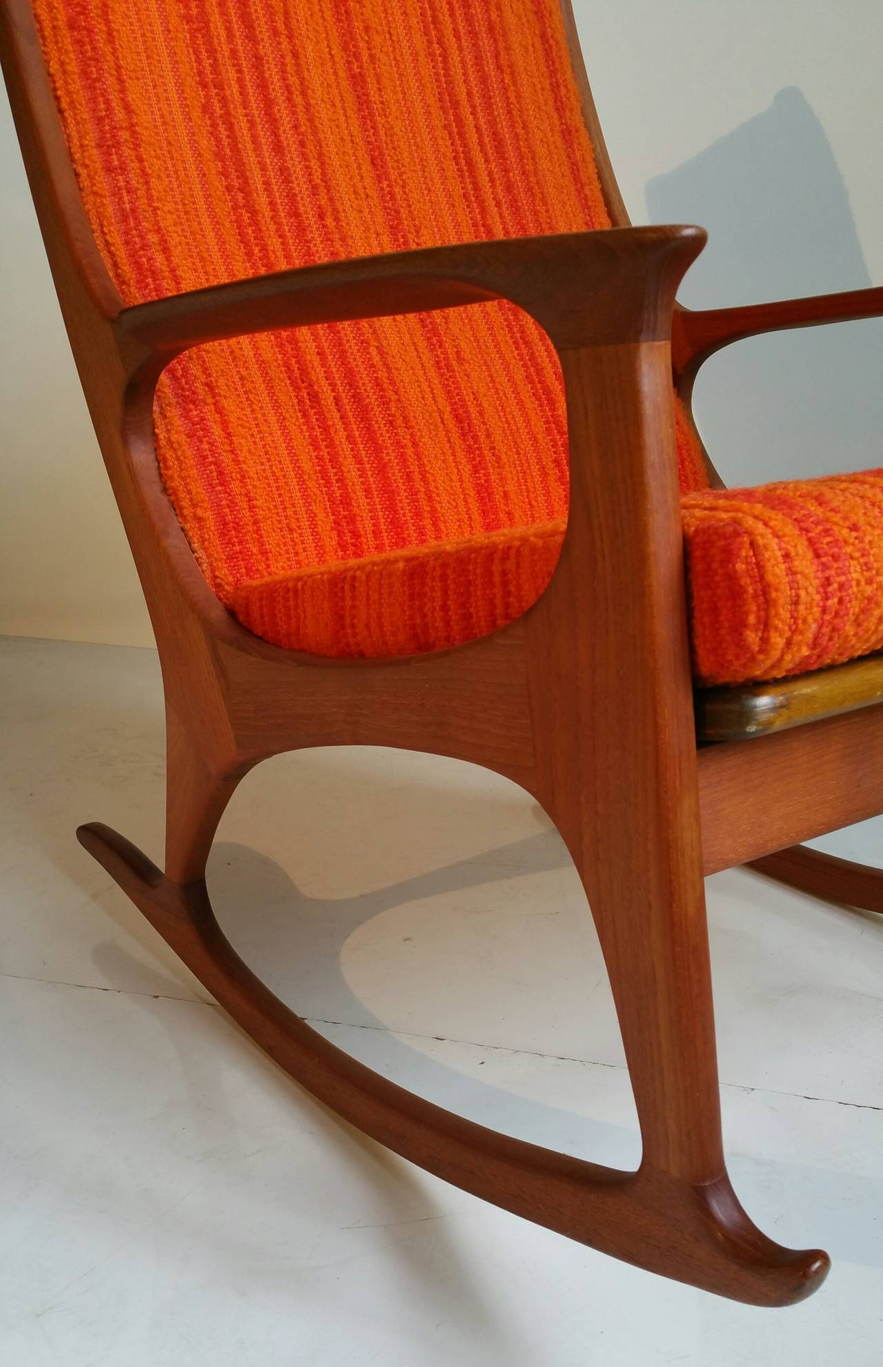 Beautiful Curves And Elegant Craftsmanship Adorn This Vintage Rocker Made Of Solid Teak With Exquisite