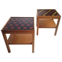 Modernist Pearwood and Leather Tray Tables, Emanuela Frattini