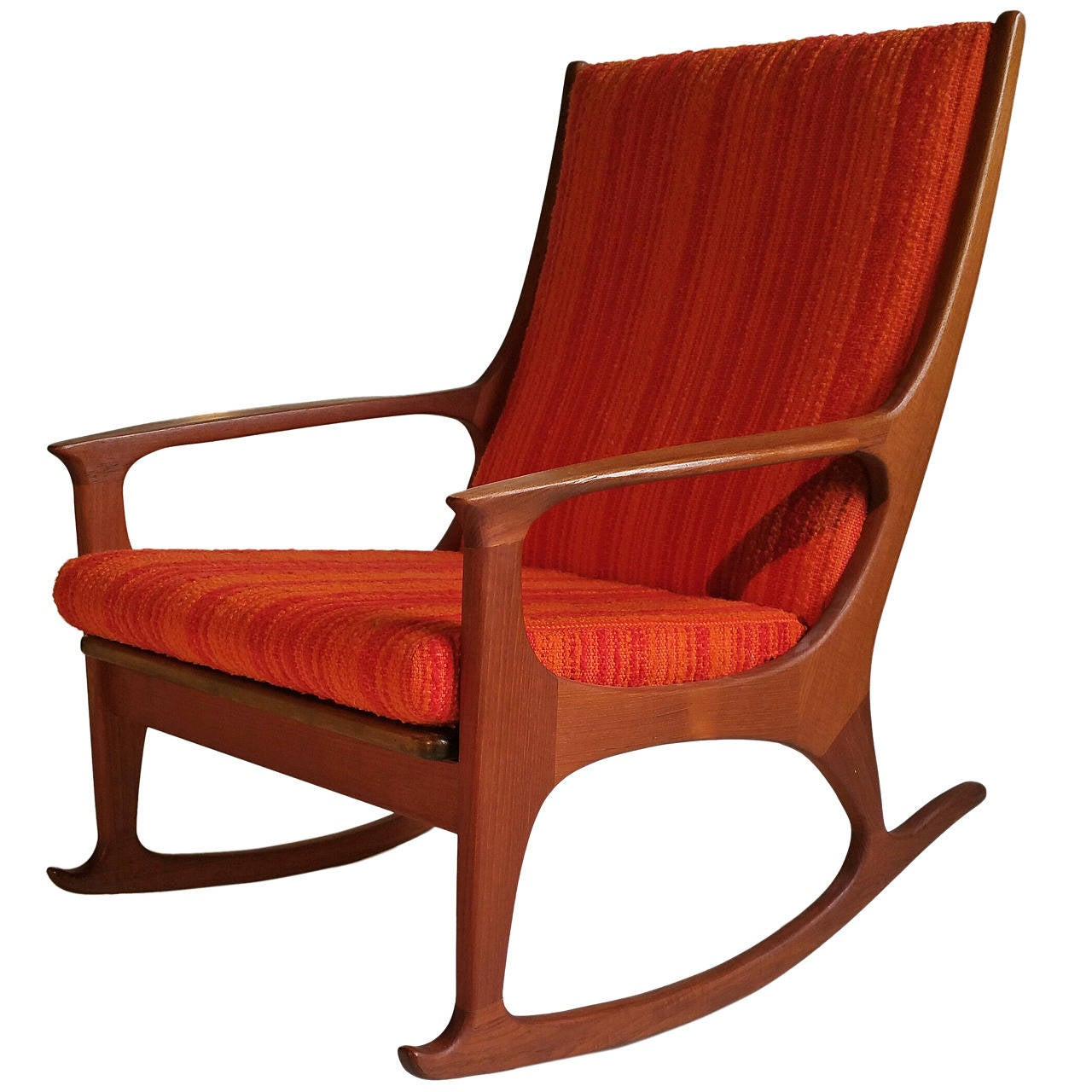 Midcentury danish modern teak rocking chair at 1stdibs for Rocking chair