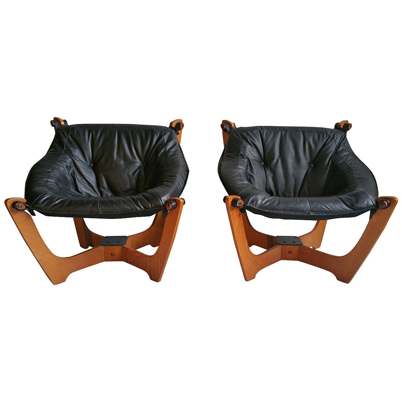 Pair Of Vintage Danish Mid Century Modern Møbler Luna Leather Sling Chairs  For Sale