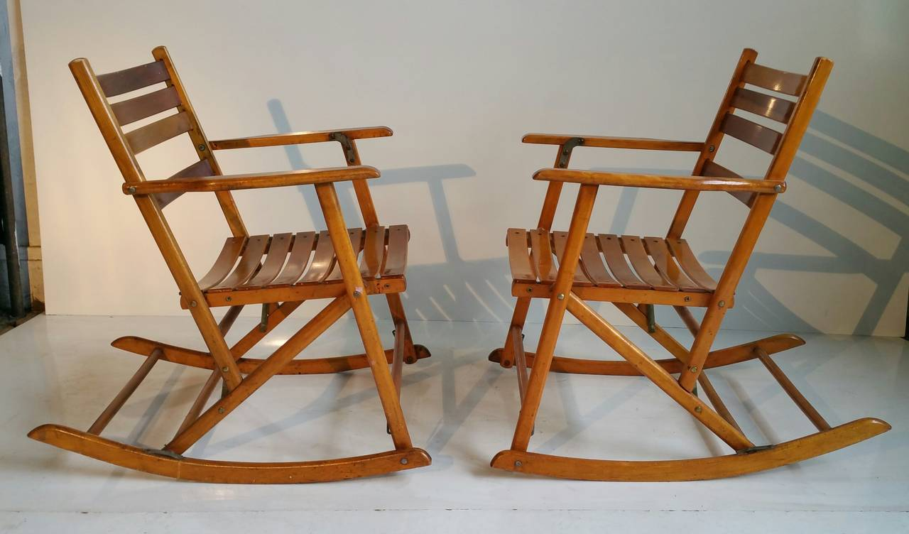Pair Of Modernist Folding Slatted Rocking Chairs By