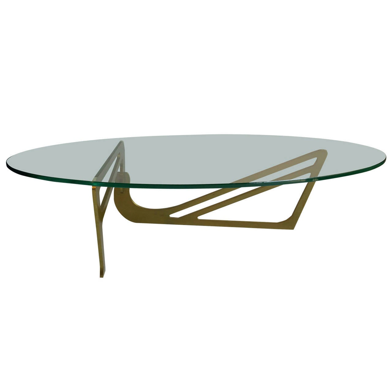 Unusual Solid Brass And Glass Noguchi Inspired Coffee Table At 1stdibs