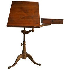 Rare 19th Century Drafting Table with Swing-Out Drawer