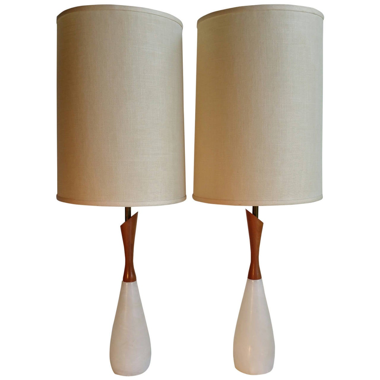 Pair Of Quartz And Teak Mid Century Modern Table Lamps At