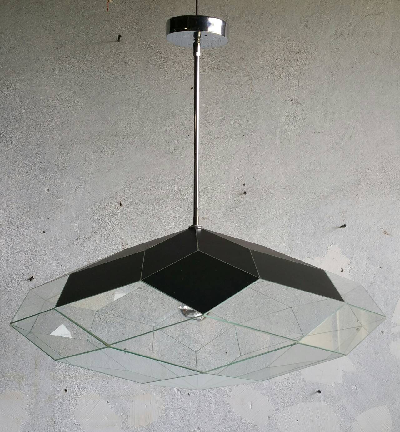 Custom Faceted Glass And Mirror Hanging Pendant Lamp