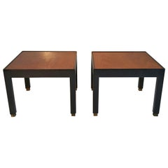 Pair of Modernist Black Lacquer and Walnut Side Tables or Stands