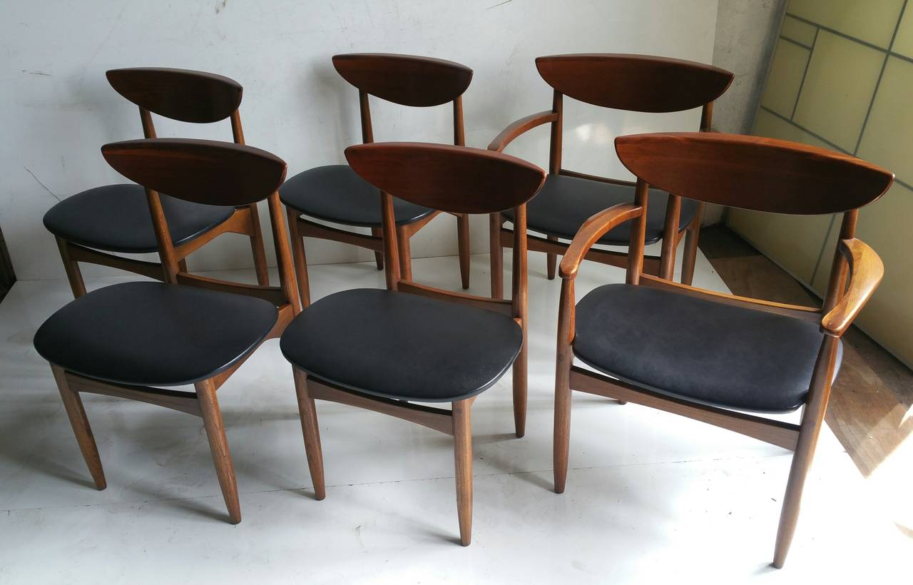 Set of Six American Danish Walnut Dining Chairs for Lane, in ...