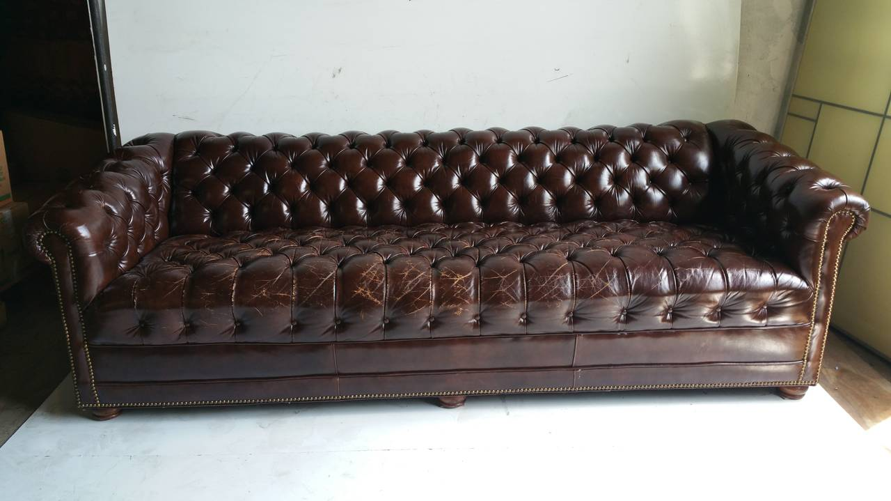 Brown leather button tufted chesterfield sofa classic for for Traditional couches for sale