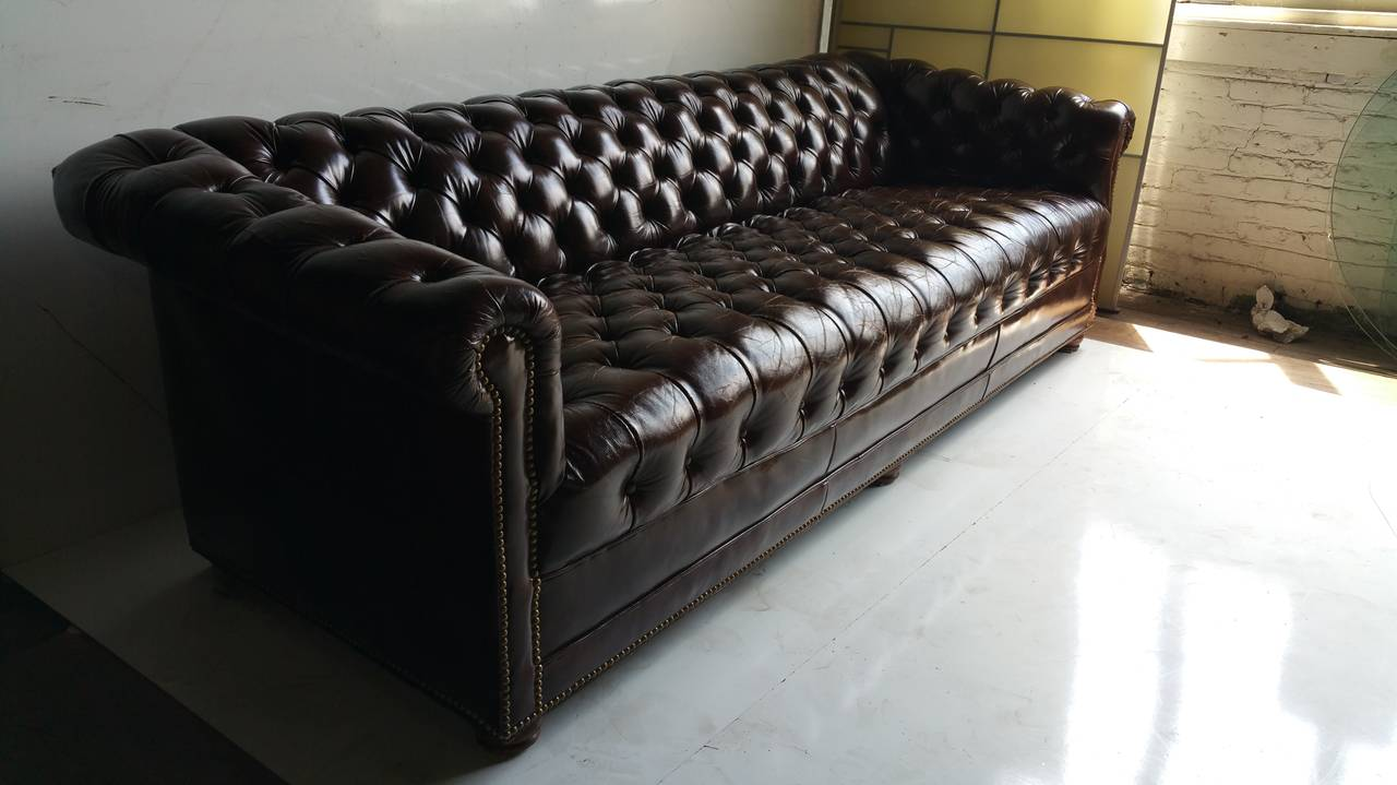 Brown Leather Button Tufted Chesterfield Sofa Classic At