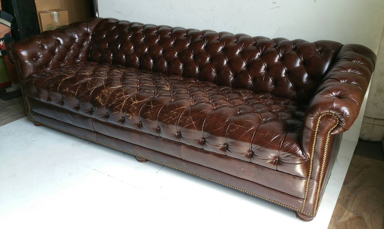 Brown Leather Button Tufted Chesterfield Sofa, Classic