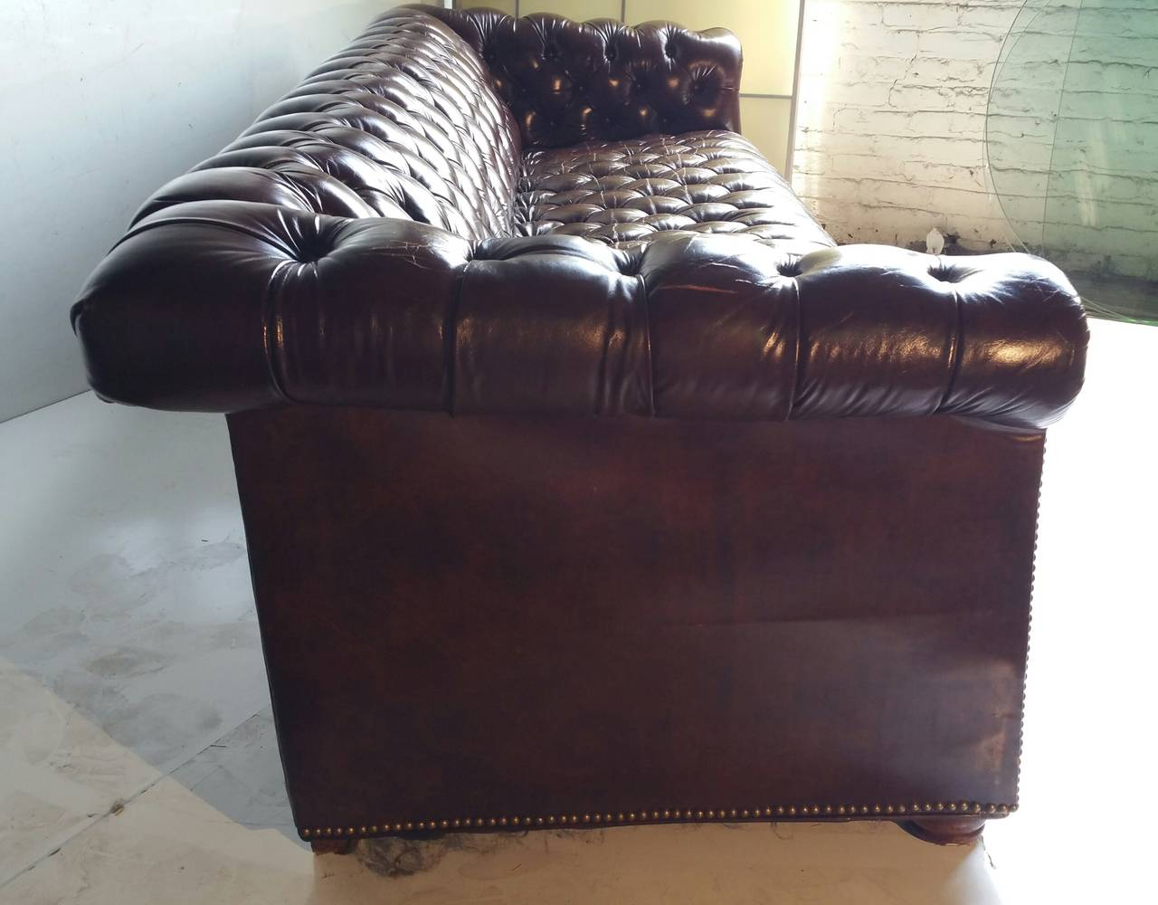 Button Couch Brown Leather Button Tufted Chesterfield Sofa Classic For Sale At