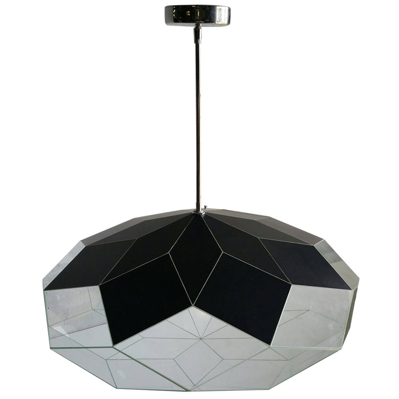 Custom Faceted Glass And Mirror Hanging Pendant Lamp Morrison Lighting For Sale