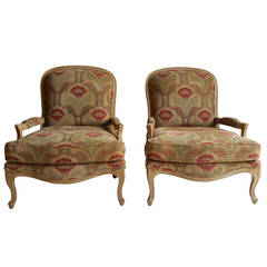 Oversized Pair of French Bergeres or Lounge Chairs, Drexel Heritage