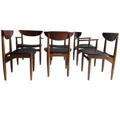 Set of Six American Danish Walnut Dining Chairs for Lane, in Manner of Finn Juhl