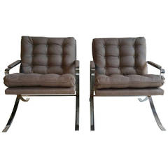 Pair of 1970s Flat Steel Chrome Lounge Chairs, Milo Baughman Inspired