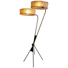 Rare Majestic Floor Lamp, Double Satellite Shades, Atomic French Design