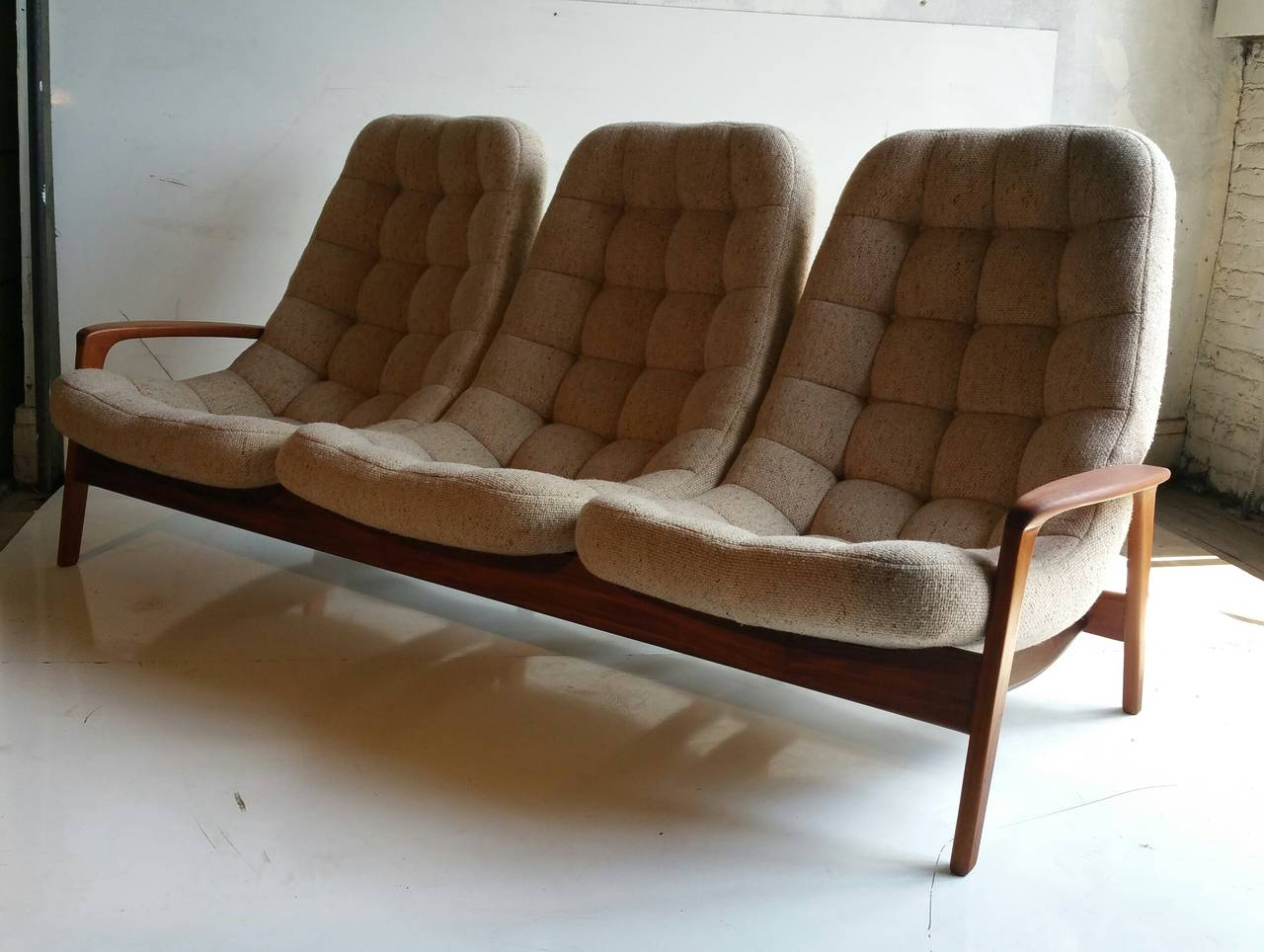 Teak Floating Egg Sofa By R Huber And Co Mid Century