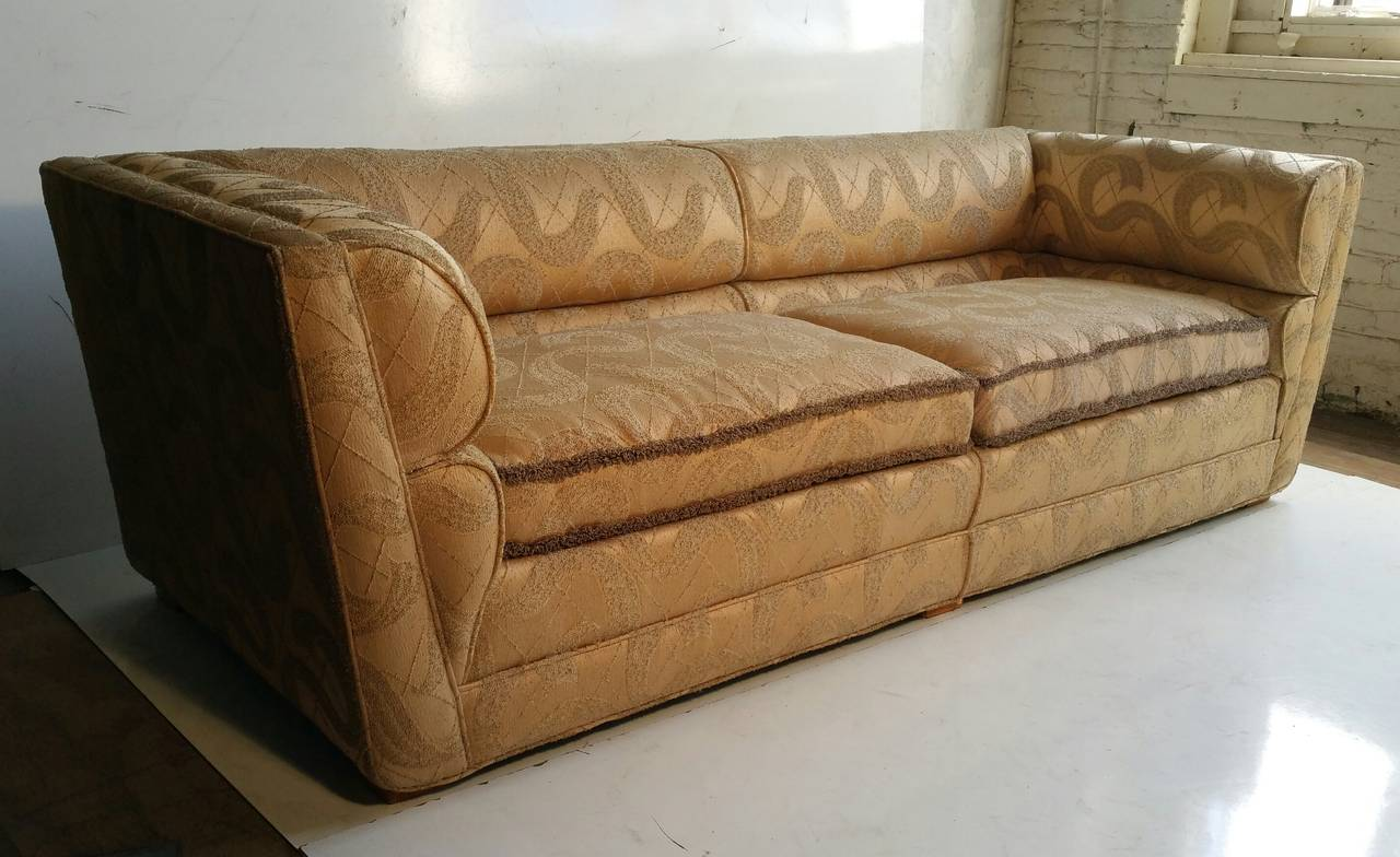 Outstanding art deco sofa original sculpted brocade fabric for Fabric couches for sale