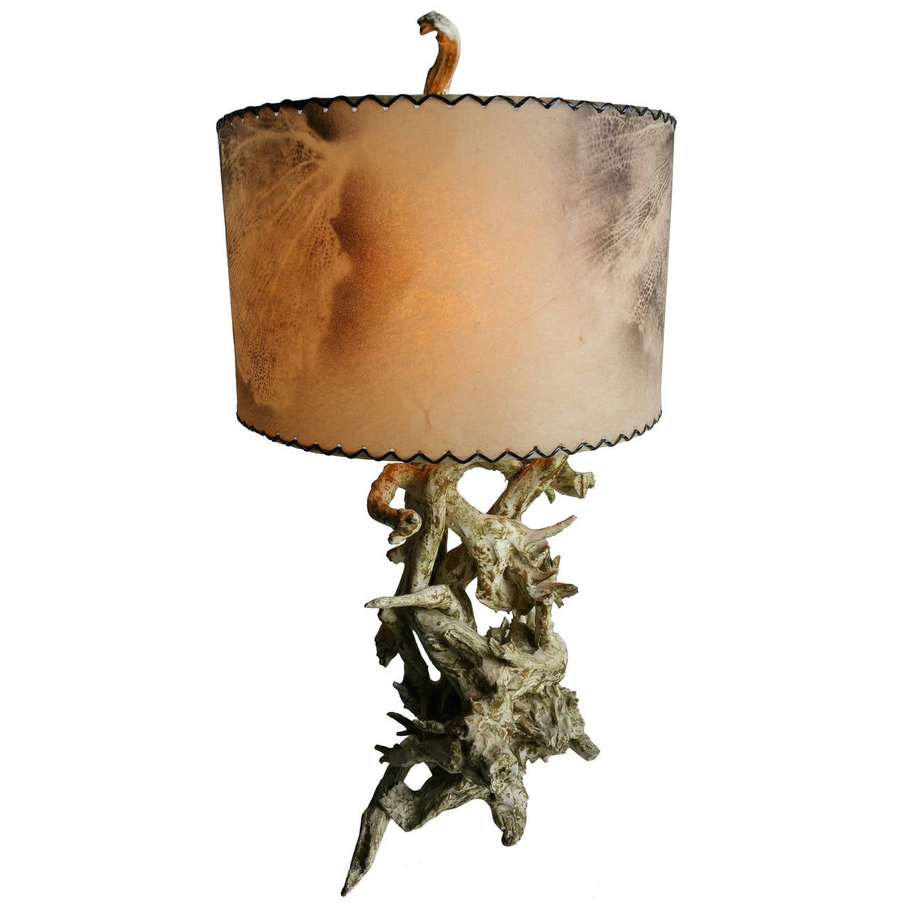 Mid-Century Modern Driftwood Lamp with Original Air Brushed Parchment Shade