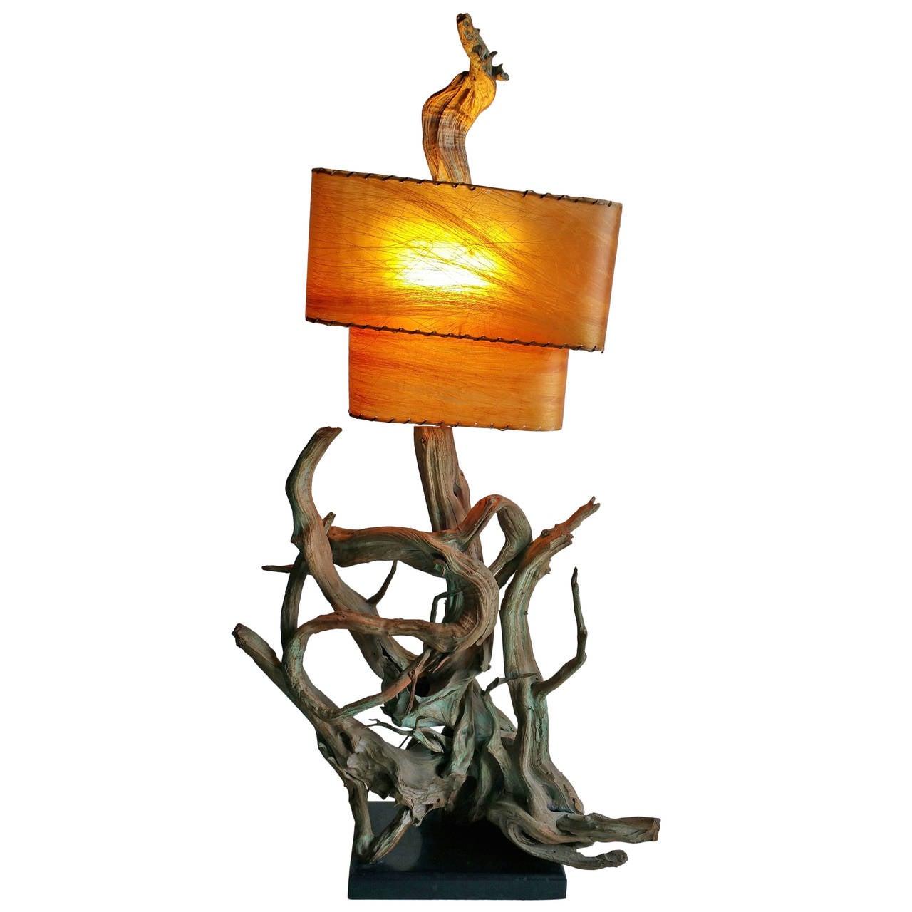 Monumental Driftwood Lamp, Mid Century Modern For Sale