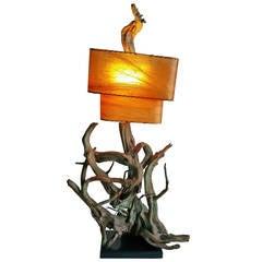 Monumental Driftwood Lamp, Mid-Century Modern