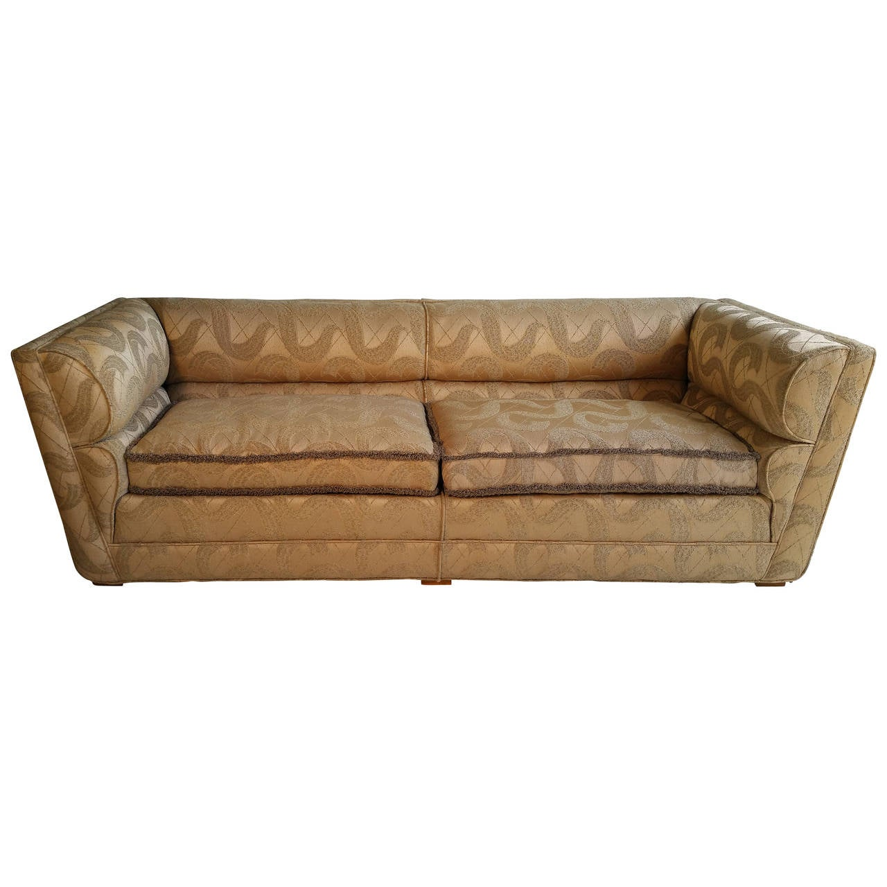 Superieur Outstanding Art Deco Sofa Original Sculpted Brocade Fabric For Sale