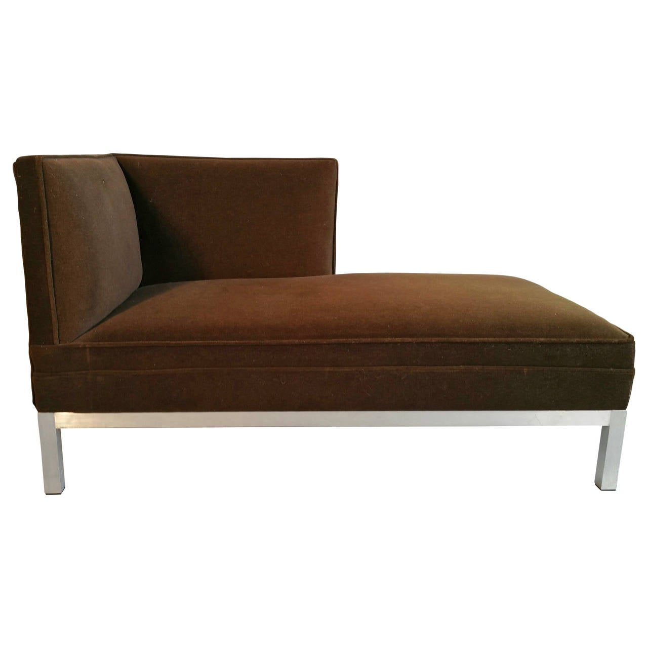 Modernist aluminum and velvet chaise lounge for sale at for Chaise aluminium