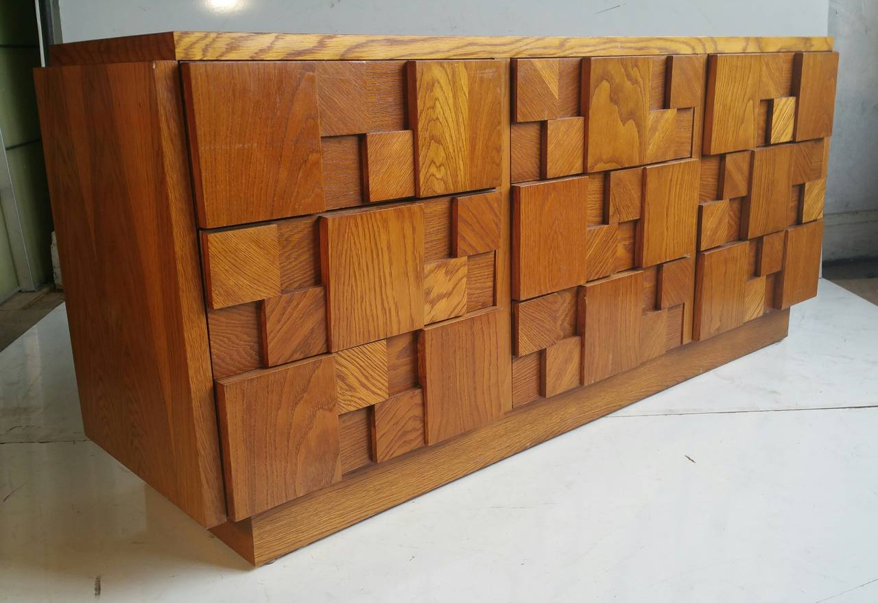 Brutalist mosaic series nine drawer dresser by lane for Lane furniture
