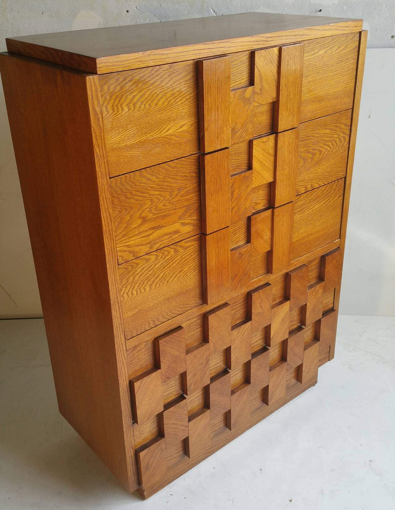 Brutalist Mosaic Series Five Drawer Chest By Lane Furniture Co At 1stdibs