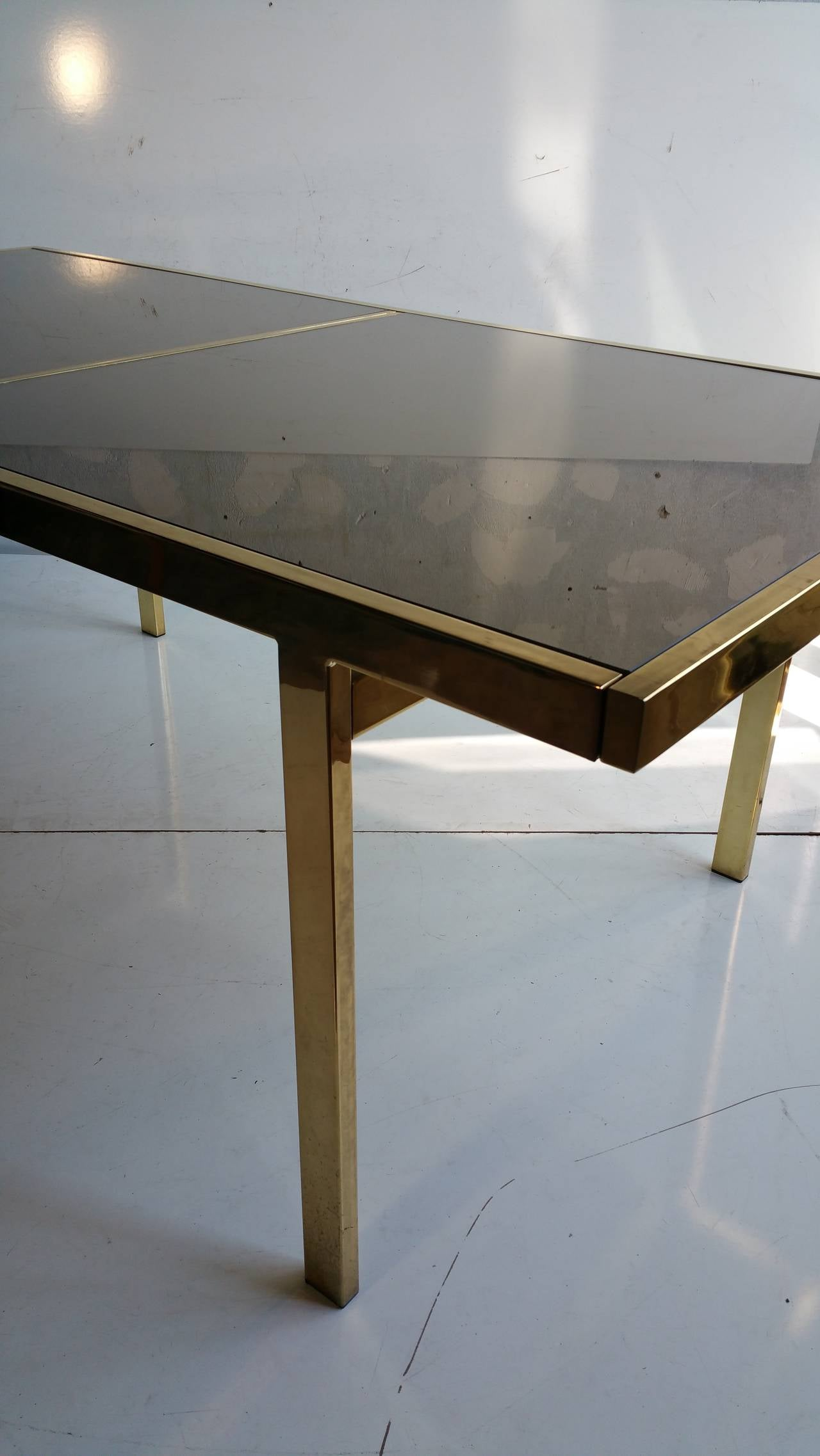 Expandable quotMastercraftquot Brass and Smoked Mirror Dining  : 20150815154939 1l from www.1stdibs.com size 1280 x 2275 jpeg 128kB