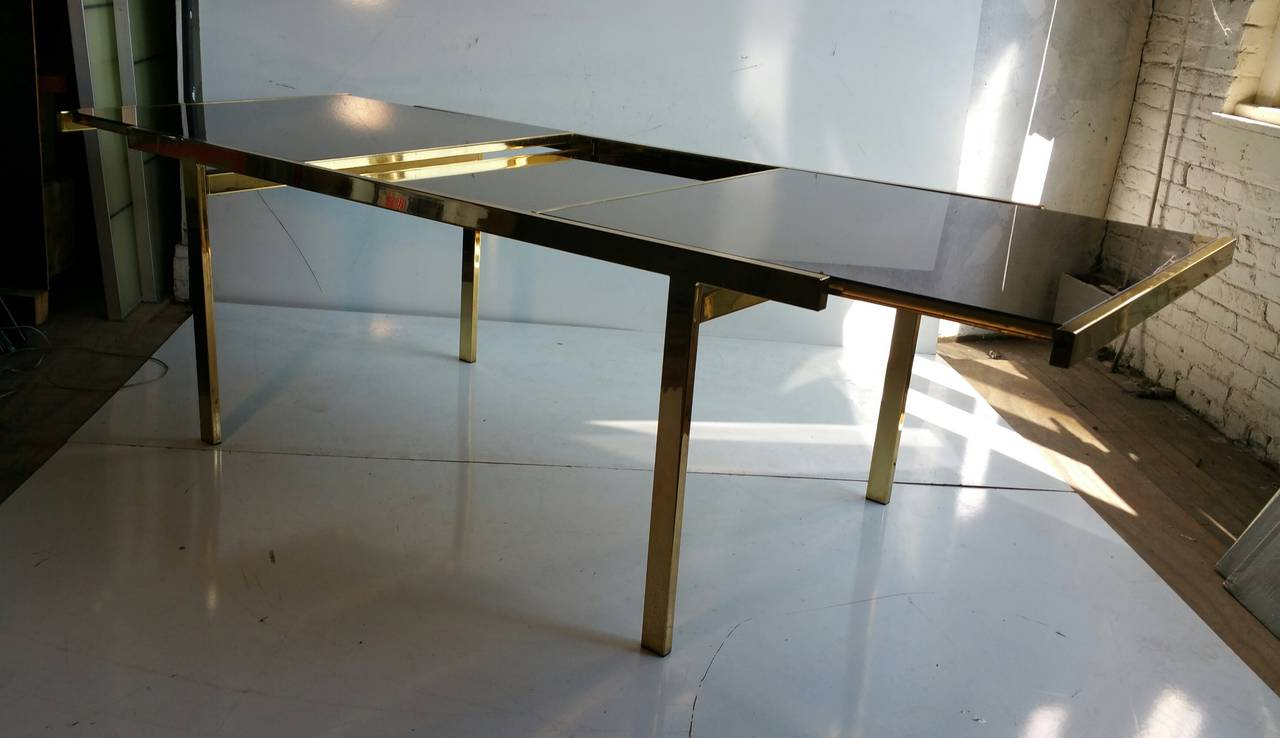 Mastercraft brass dining table - Expandable Mastercraft Brass And Smoked Mirror Dining Table 3