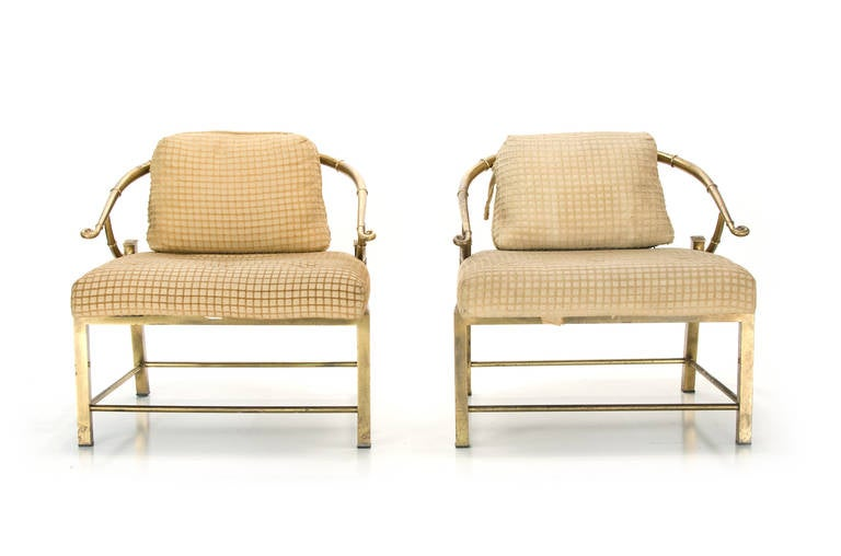 Classic Asian or Chinese style chairs. Manufactured by Mastercraft. All original brass and fabric. Age appropriate ware.