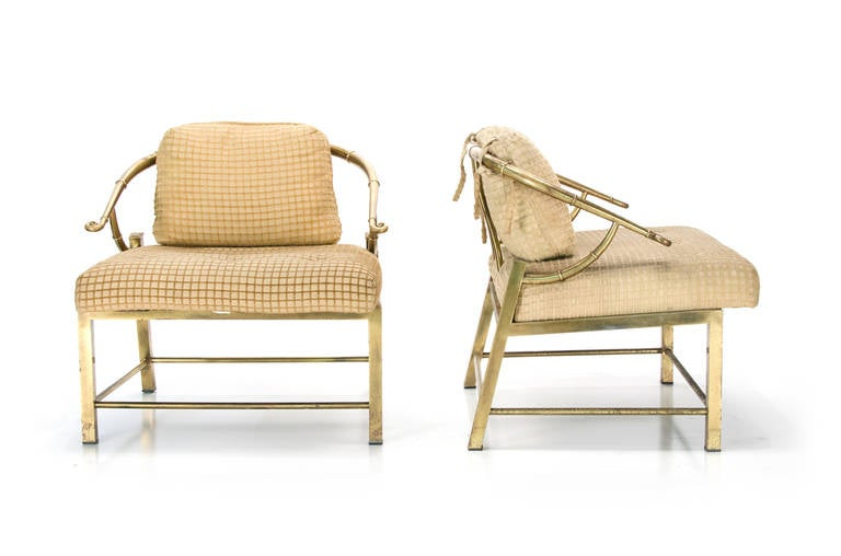 Hollywood Regency Pair of Mastercraft Asian Style Lounge Chairs