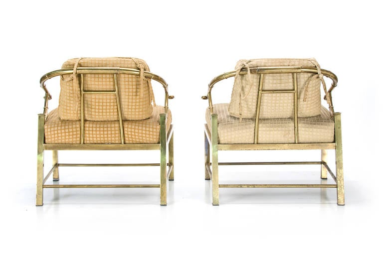 American Pair of Mastercraft Asian Style Lounge Chairs