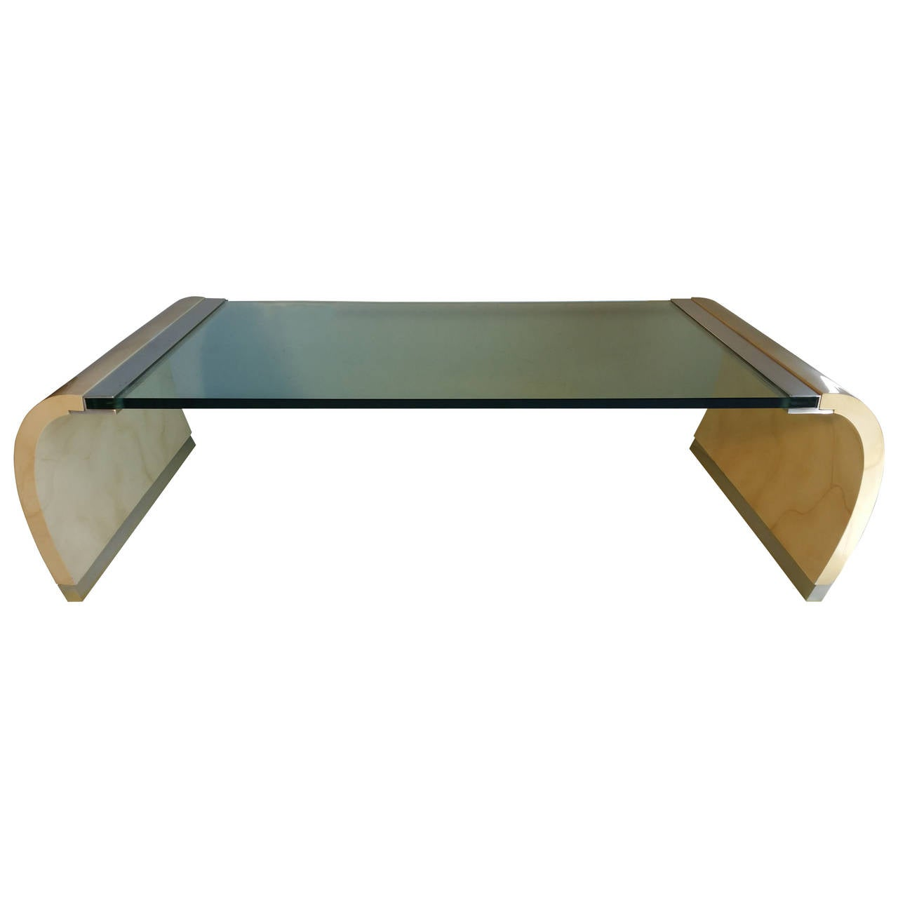 Glass Top Coffee Table From Karl Andersson: Glass And Lacquer Waterfall Coffee Table In The Manner Of