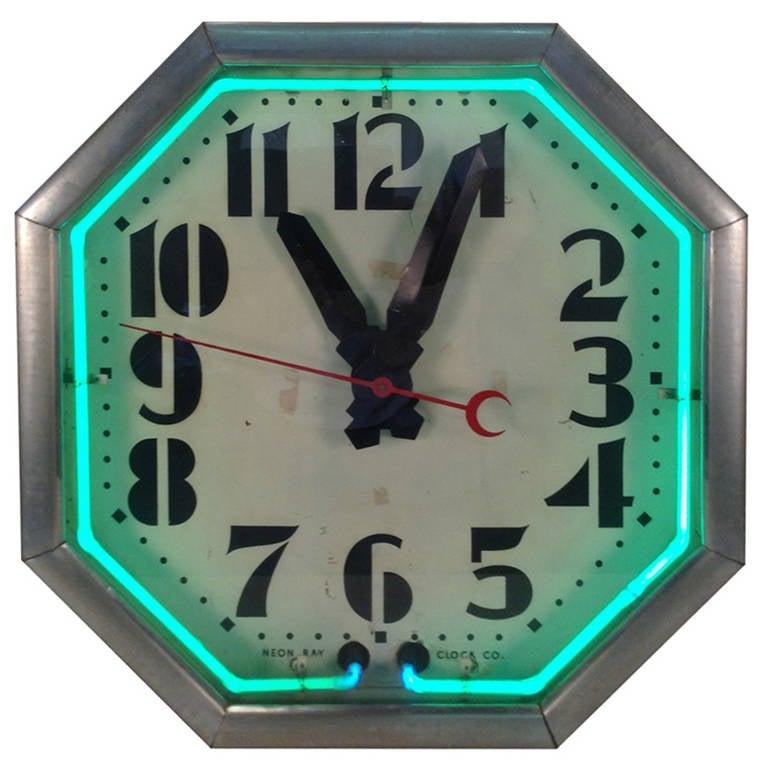 deco quot neon quot octogon clock at 1stdibs