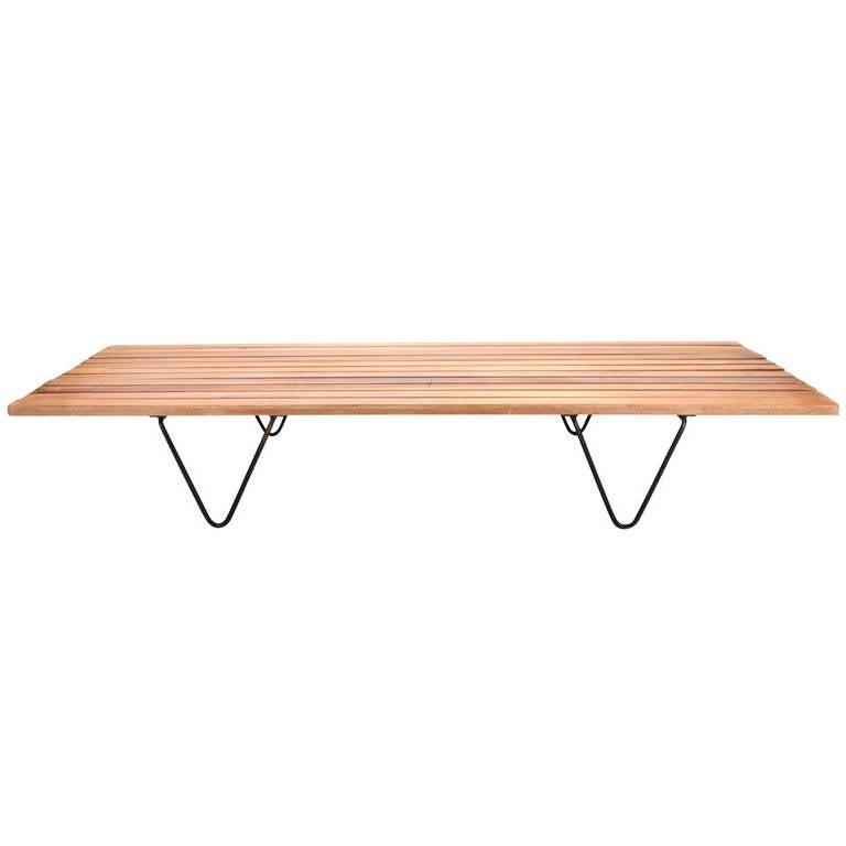 Modernist Slat Teak Wood Bench Or Daybed At 1stdibs