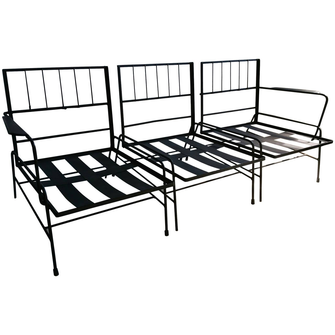 Three Piece Modernist Iron Garden Patio Set In The Manner Of Salterini 1