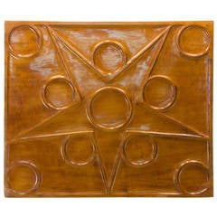 Mid-Century Modern Hand-Carved Sculptured Wall Plaque
