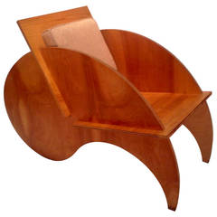 "One-Off ""Yin Yang"" Puzzle Lounge Chair, Modernist, Bench Made"