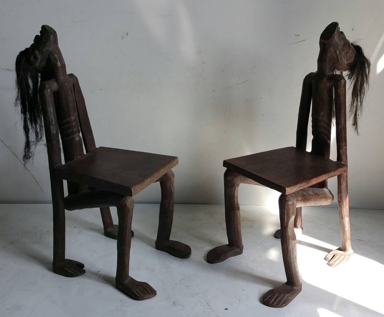 modern 'tiki' shrunken head chairs for sale at stdibs - modern 'tiki' shrunken head